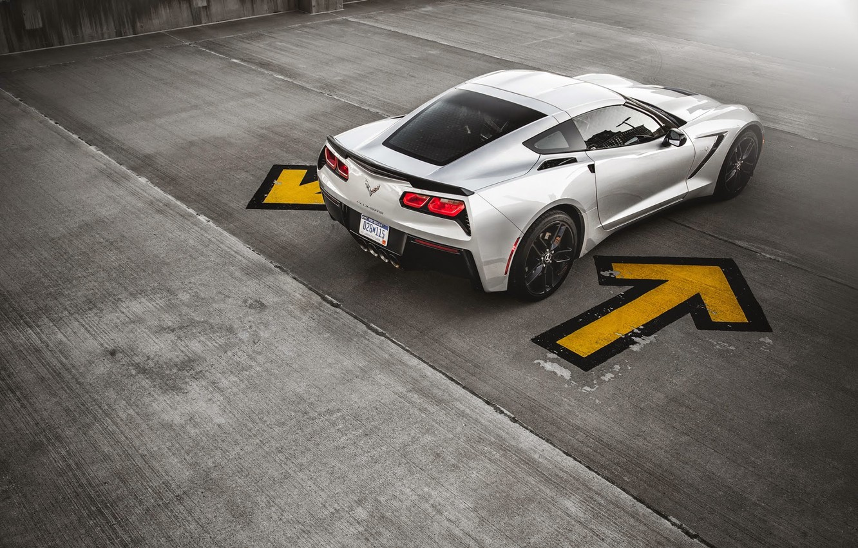 Photo wallpaper Corvette, Chevrolet, Muscle, Car, Sun, American, Stingray, Silver, Rear, Ligth, Z51