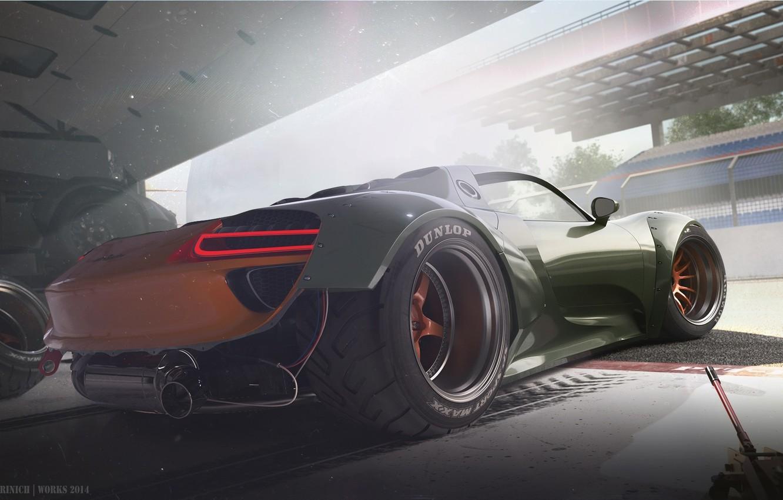 Photo wallpaper Concept, Porsche, Car, Race, 918, Wheels, Garage, Rear, Ligth