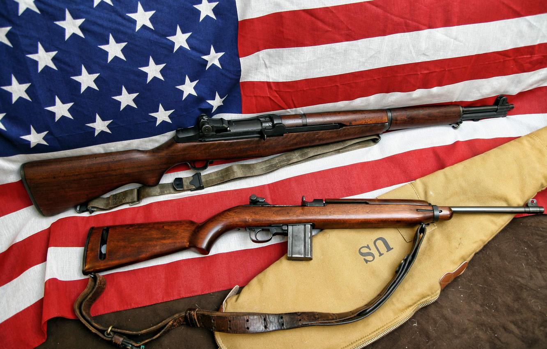 Photo wallpaper flag, rifle, carabiner, self-loading, self-loading, M1 Carbine, M1 Garand
