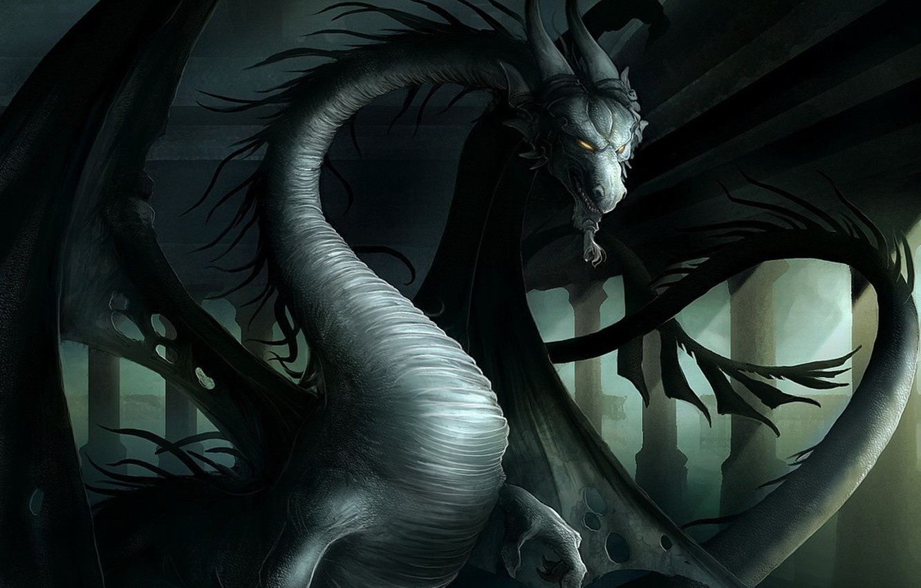 Photo wallpaper the darkness, dragon, wings, evil