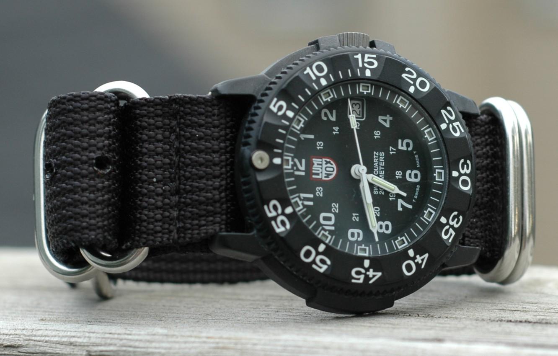Photo wallpaper glass, strap, mesh fabric, Luminox watch