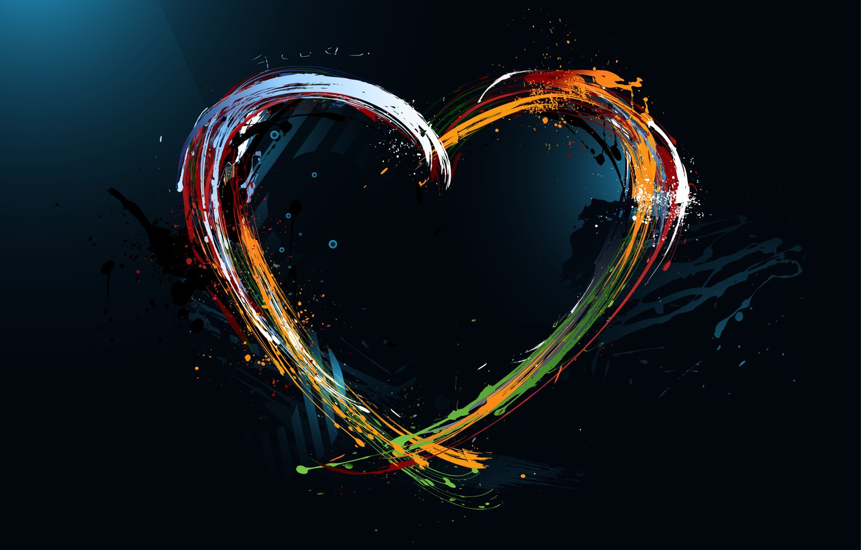 Photo wallpaper paint, heart, divorce, art, colorful, Painted heart, pisunok
