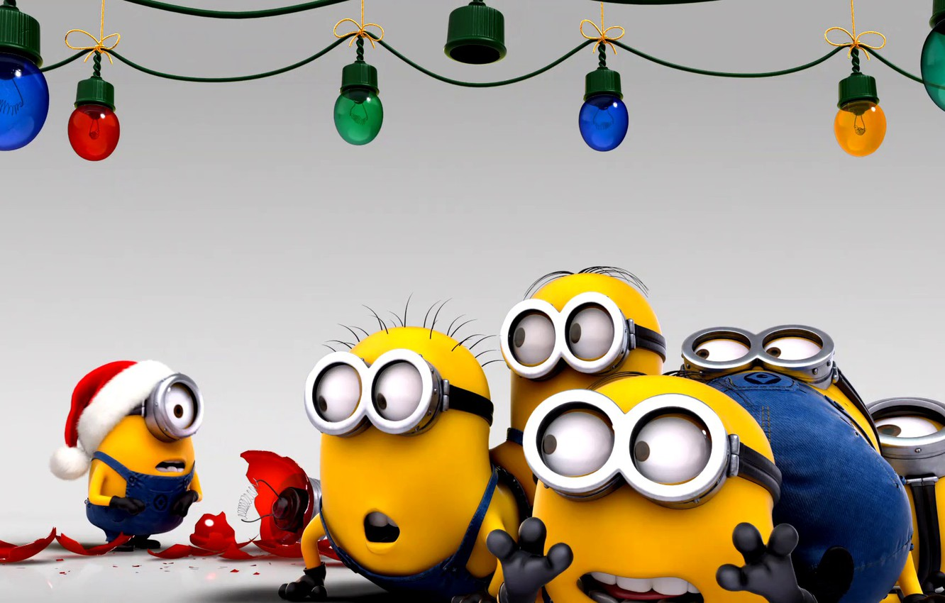 Photo wallpaper movies, cartoon, new year, New year, minions, Despicable Me