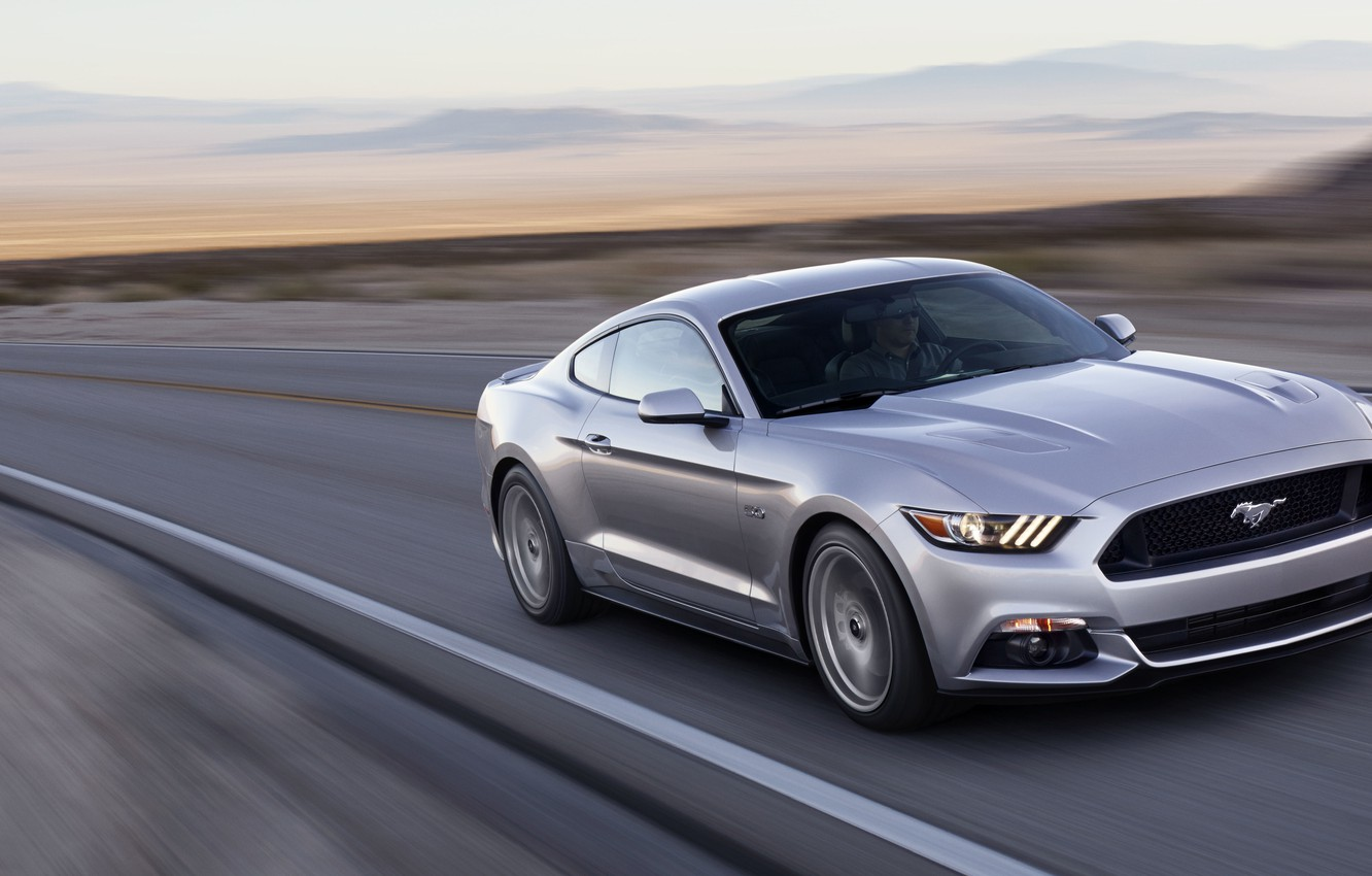 Photo wallpaper road, machine, auto, Mustang, Ford, Car, 2015