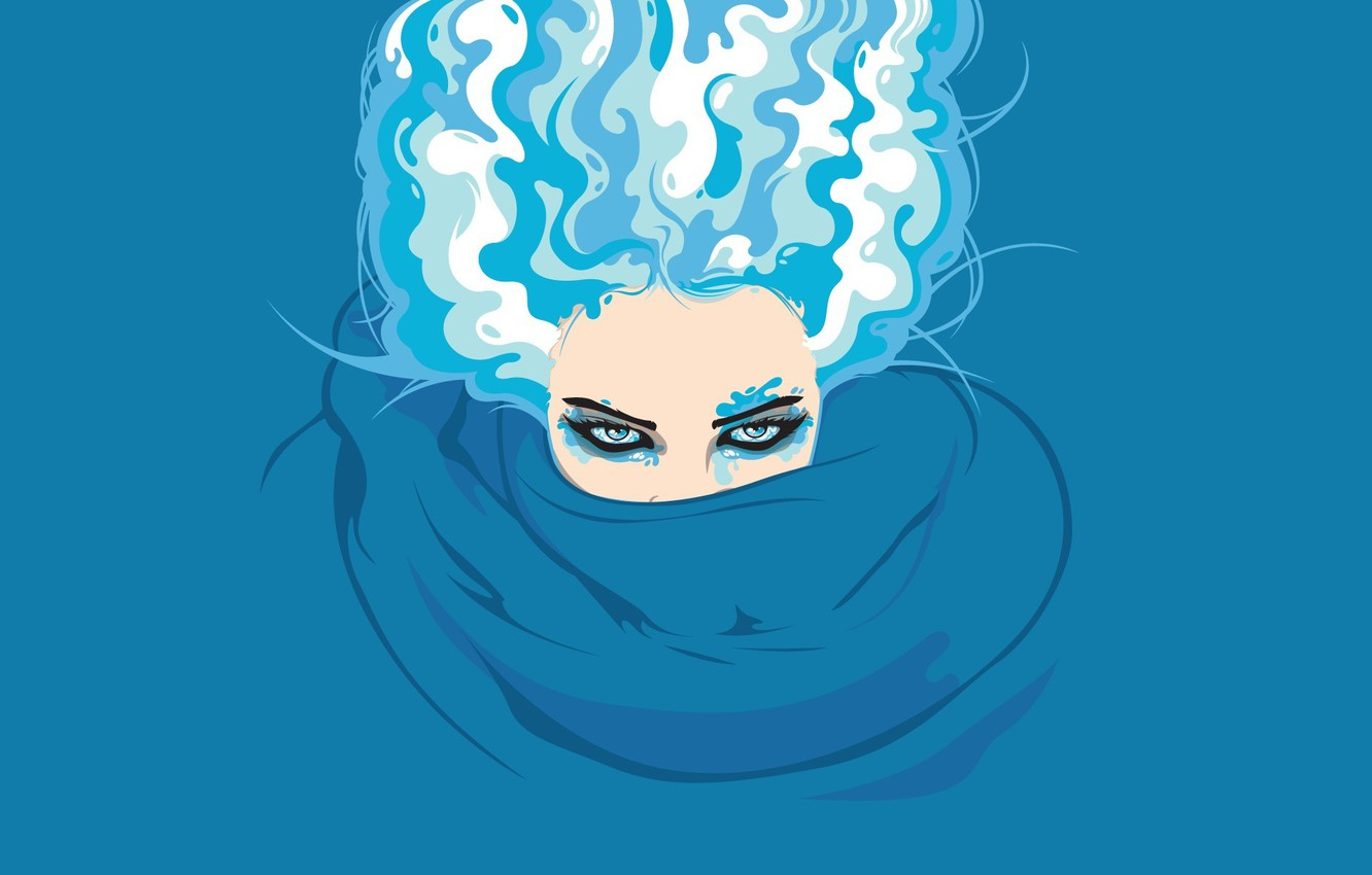 Photo wallpaper blue, vector, witch