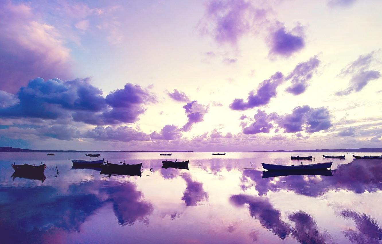 Wallpaper The Ocean Boats The Evening Ocean Purple Sunset Images For Desktop Section Pejzazhi Download
