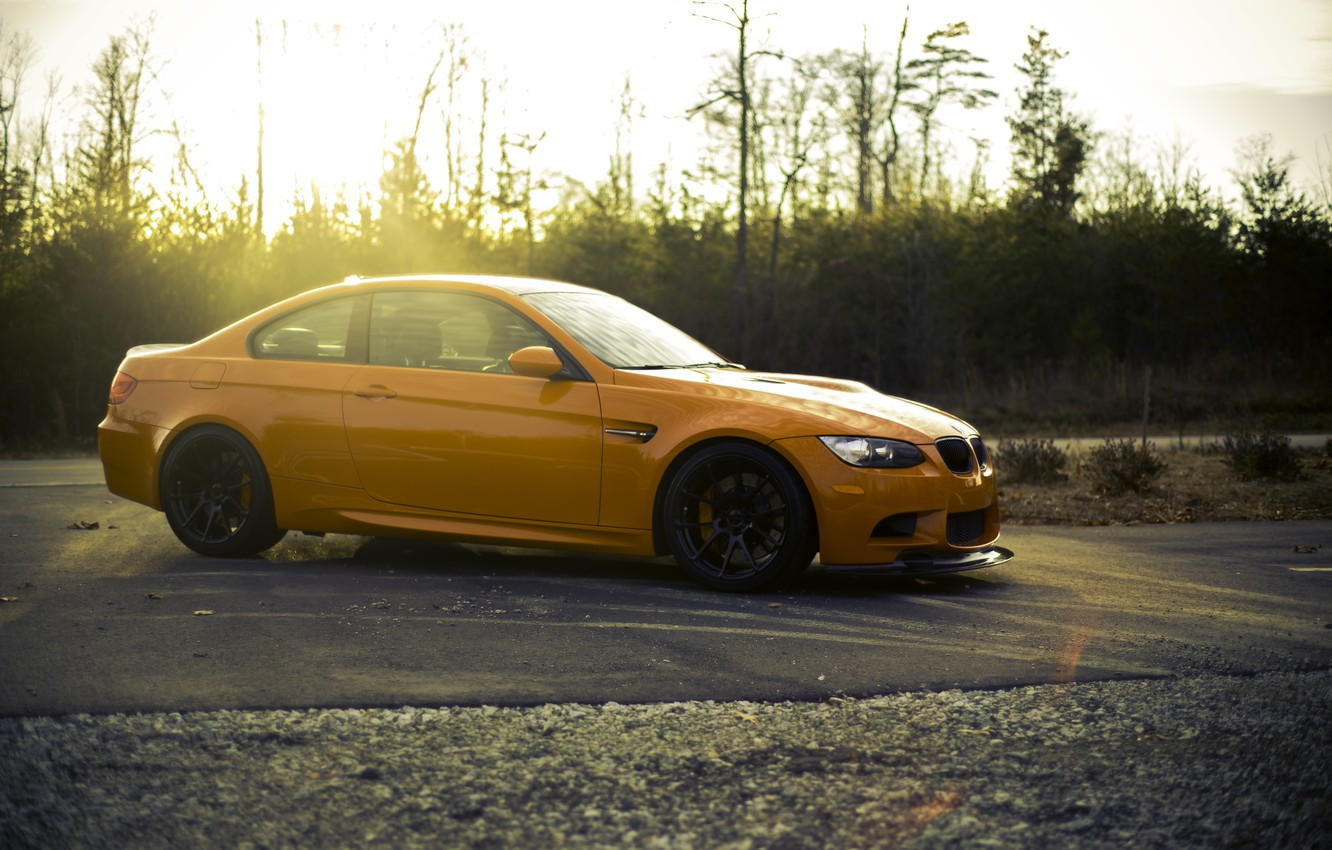 Photo wallpaper orange, black, BMW, BMW, wheels, drives, black, side view, orange, e92