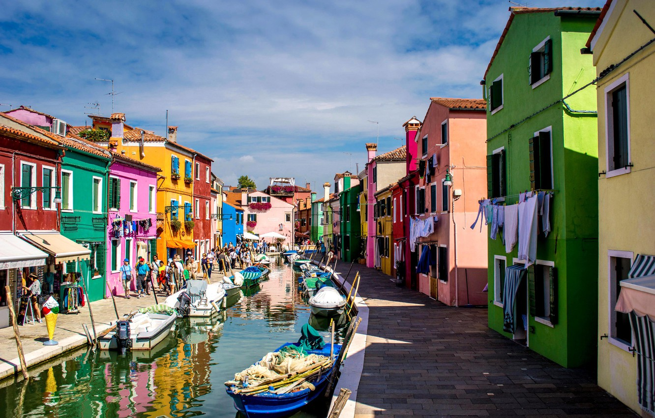 Photo wallpaper paint, boat, island, home, Italy, Venice, channel, Burano