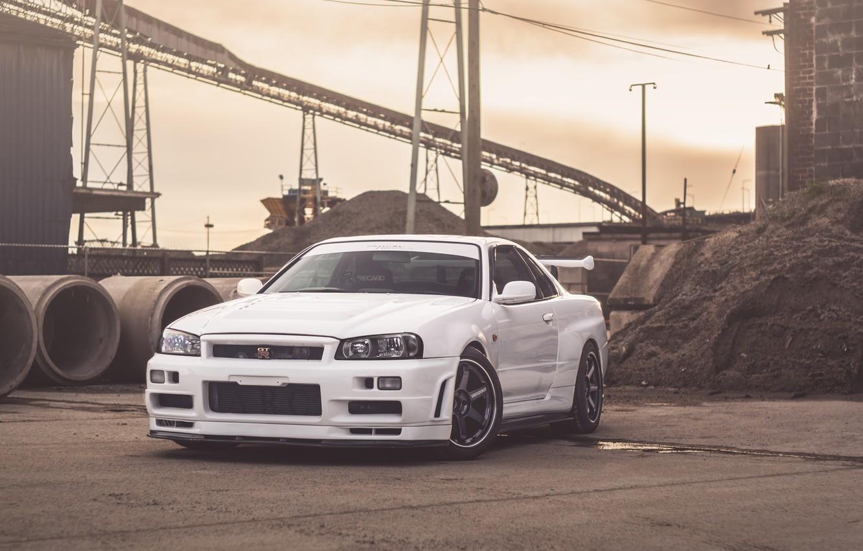 Photo wallpaper GTR, Nissan, White, Skyline, R34, Facnory