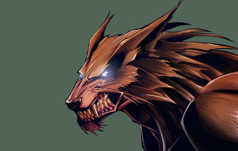 Photo wallpaper wolf, werewolf, green background, wolf, toothy, werewolf
