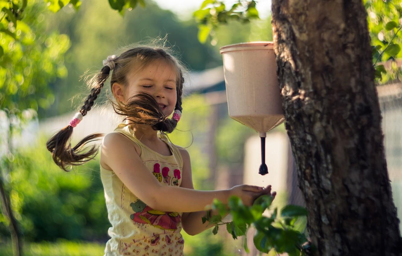 Photo wallpaper summer, water, love, joy, happiness, childhood, tree, the wind, beauty, girl, braids, cottage, sink, Elena …
