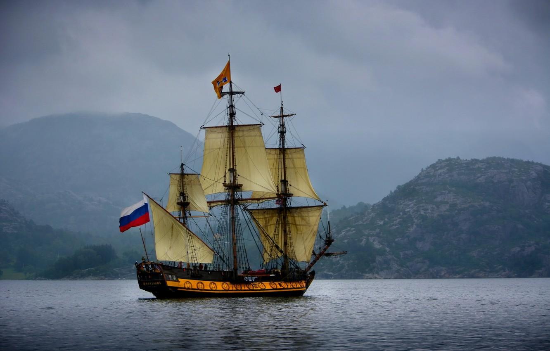 Photo wallpaper sea, mountains, sailboat, Norway, frigate, Norway, The Norwegian sea, Norwegian Sea, the frigate Shtandart, Standard