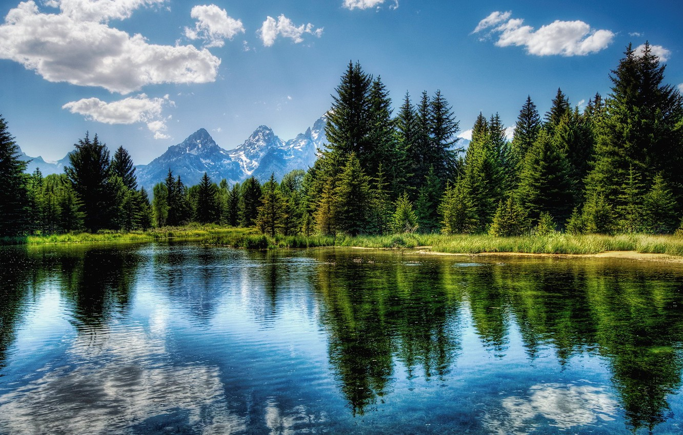 Photo wallpaper the sky, clouds, trees, blue, green, lake, reflection, 156