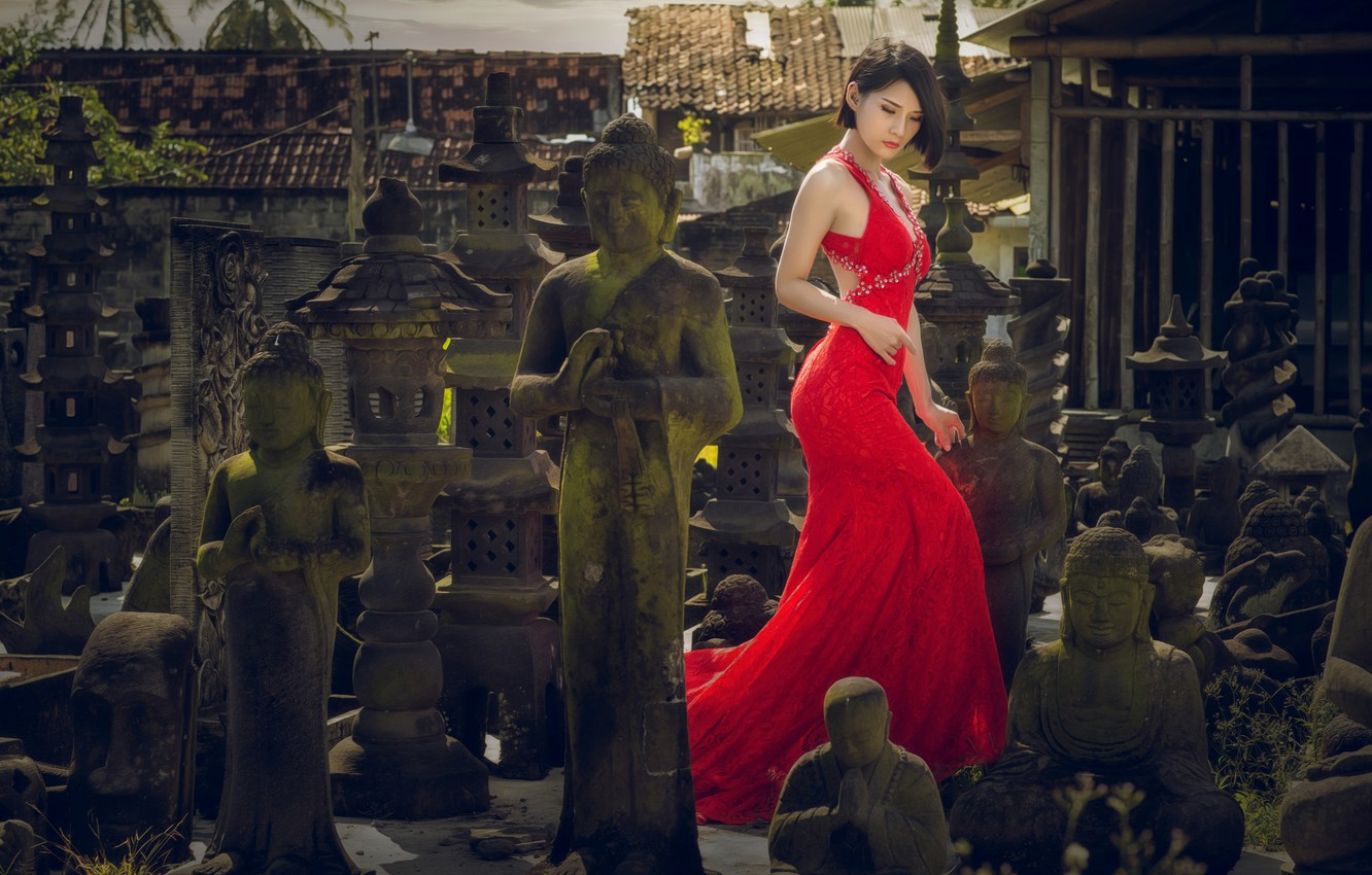 Photo wallpaper girl, style, dress, Asian, red dress, statues