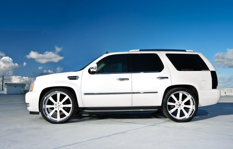 Photo wallpaper roof, white, profile, Parking, white, wheels, drives, Cadillac, cadillac, escalade, the Escalade
