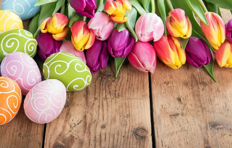 Photo wallpaper flowers, eggs, spring, Easter, tulips, flowers, tulips, spring, Easter, eggs, decoration, Happy