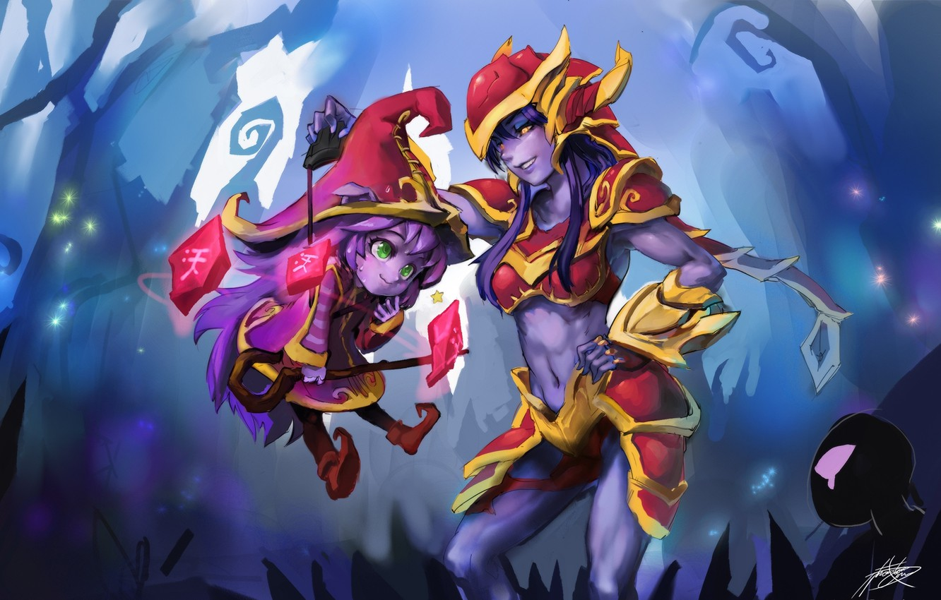 Photo wallpaper look, smile, girls, magic, Chibi, grin, art, league of legends, shyvana, phantom ix row, pix