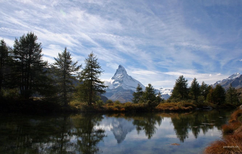 Photo wallpaper nature, lake, hill
