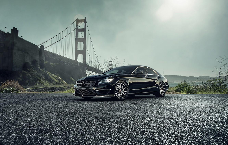 Photo wallpaper car, bridge, black, mercedes-benz, Mercedes, tuning, amg, vorsteiner, cls63