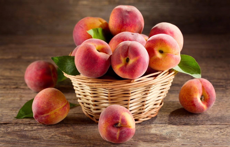 Photo wallpaper leaves, basket, food, peaches
