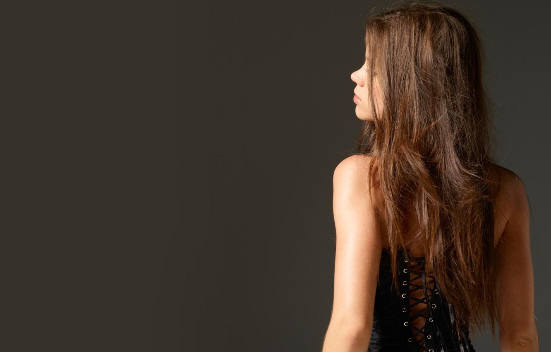 Photo wallpaper back, beauty, corset, Little Caprice