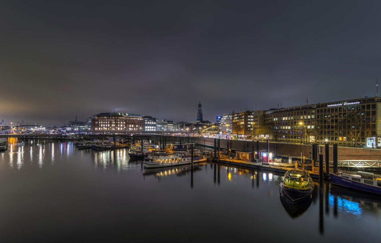 Photo wallpaper night, bridge, lights, river, home, Germany, pier, lights, boats, promenade, Hamburg