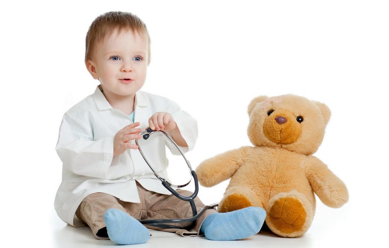 Photo wallpaper boy, bear, child, Bathrobe, stethoscope, white background, young doctor