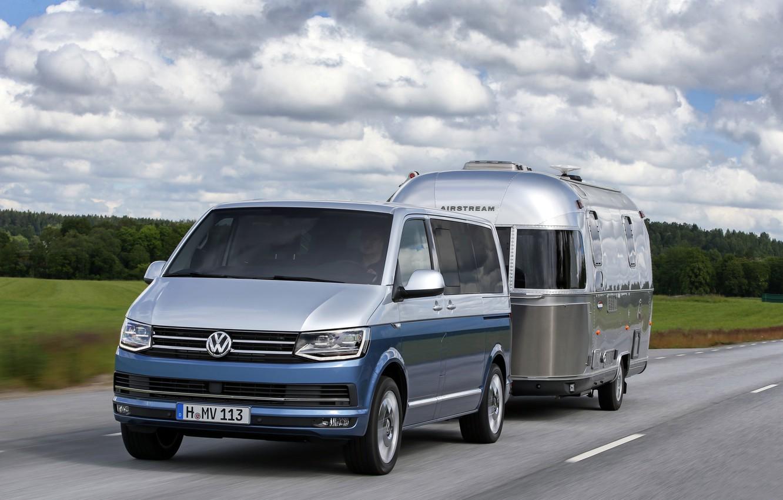 Photo wallpaper volkswagen, silver, road, blue, multivan