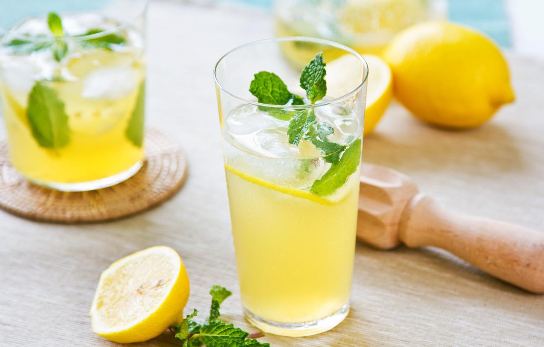 Photo wallpaper glass, lemon, drink, mint, lemonade