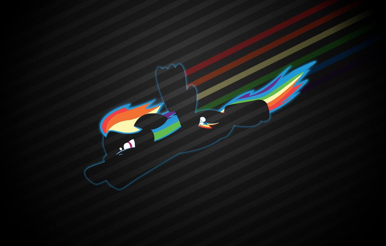 Wallpaper Flight Kindness Rainbow Silhouette Pony My Little