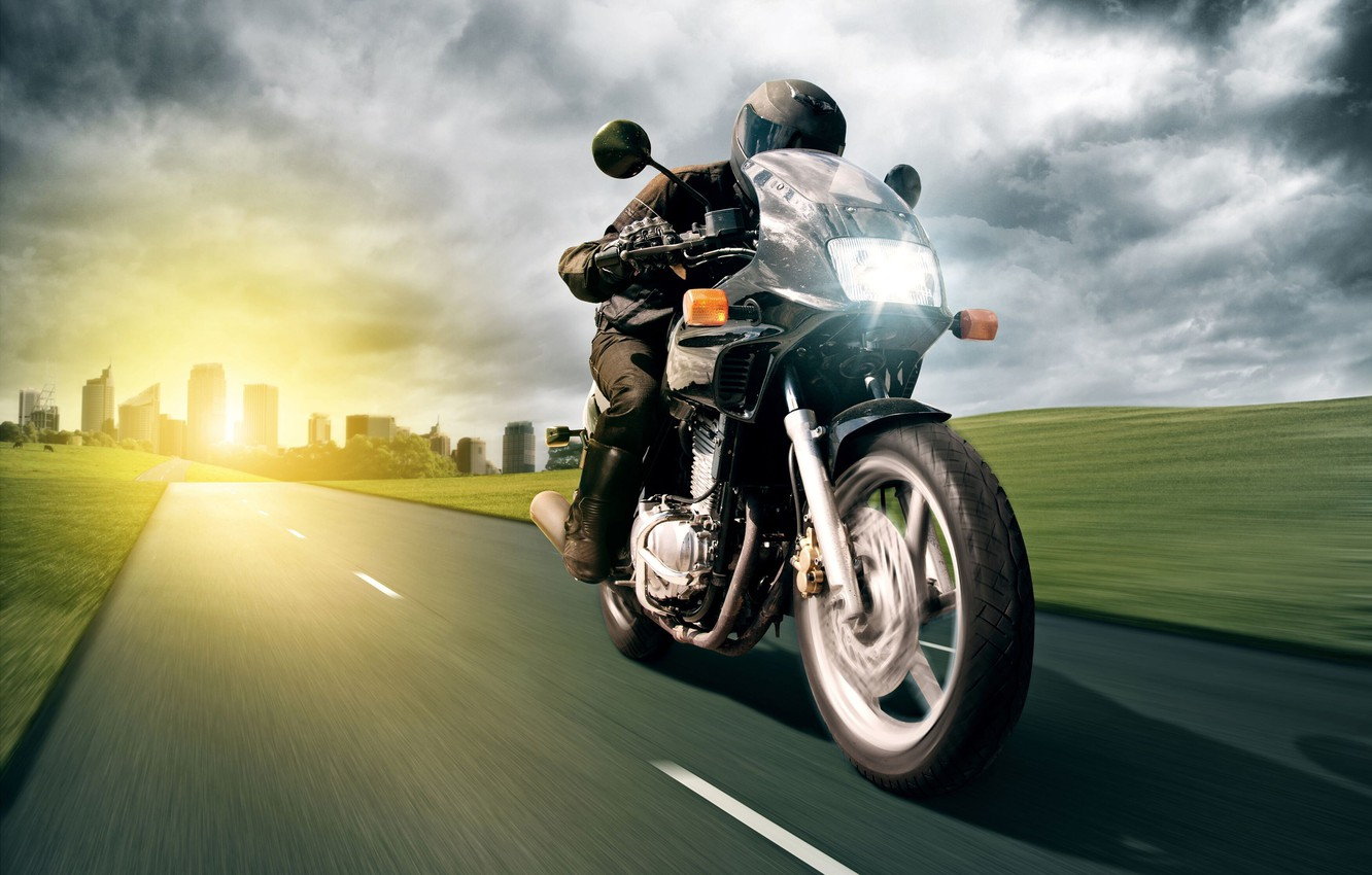 Photo wallpaper road, the sun, light, the city, building, speed, motorcycle, male