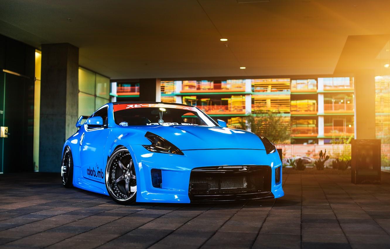 Photo wallpaper car, blue, tuning, nissan 370z