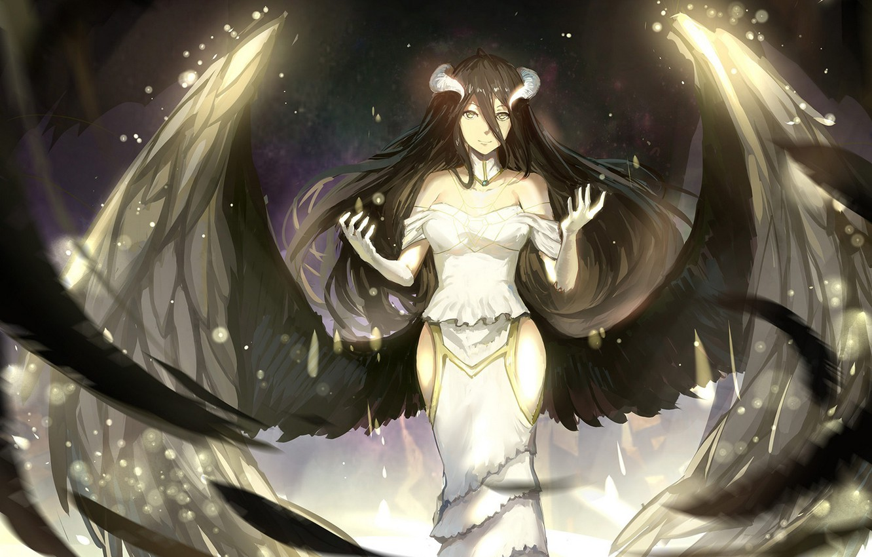 Photo wallpaper girl, magic, wings, angel, anime, art, horns, Overlord, sishenfan, albedo