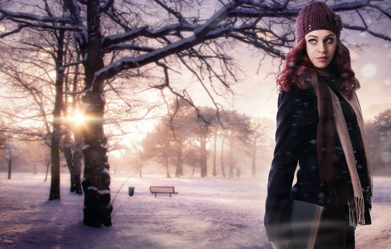 Photo wallpaper winter, girl, the sun, snow, trees, nature, background, fiction, hat, beauty, scarf, book, red, bench