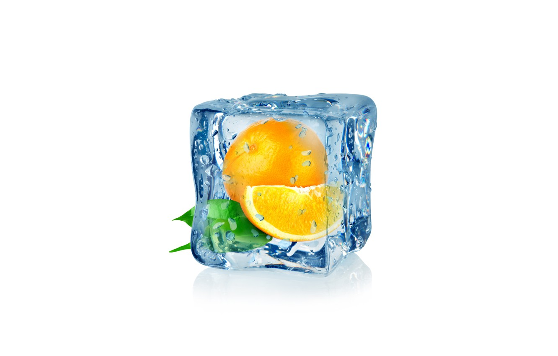Photo wallpaper drops, abstraction, orange, water, art, ice, cube, water, ice, fruit, orange, frozen, drops, white background, …