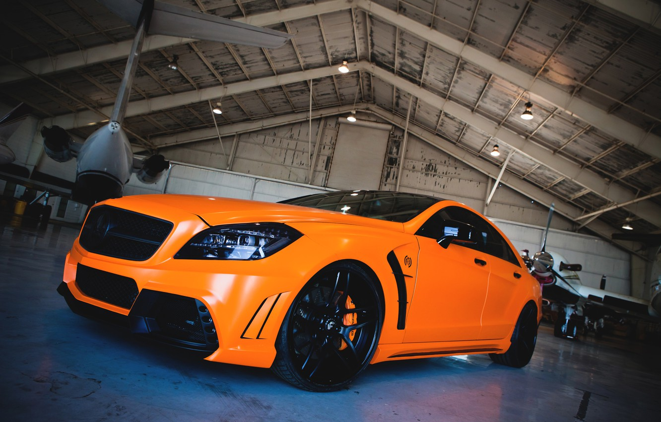 Photo wallpaper auto, machine, orange, the plane, tuning, hangar, mercedes-benz, Mercedes, cls, royal