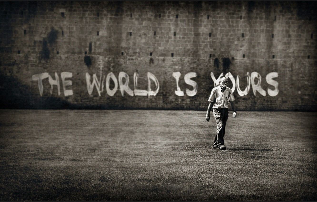 Wallpaper Wall The Inscription Male The World Is Yours The