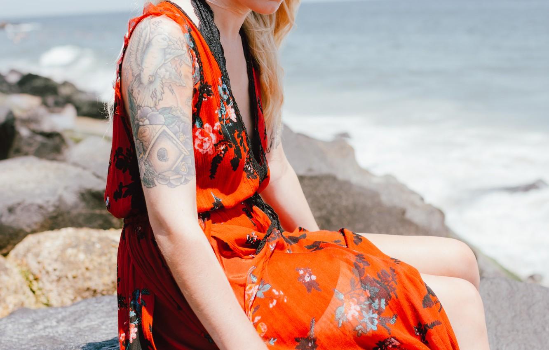 Photo wallpaper girl, hand, dress, tattoo, tattoo