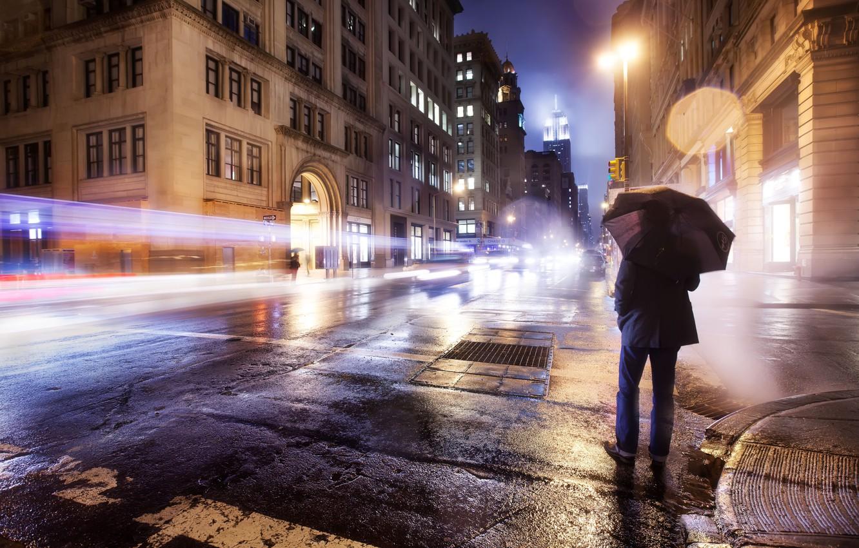 Photo wallpaper road, lights, loneliness, rain, mood, Wallpaper, street, umbrella, wallpaper, male, America, new York, USA, new …