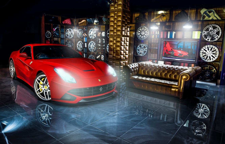 Photo wallpaper red, reflection, sofa, Ferrari, red, Ferrari, drives, Berlinetta, F12, Kahn Design