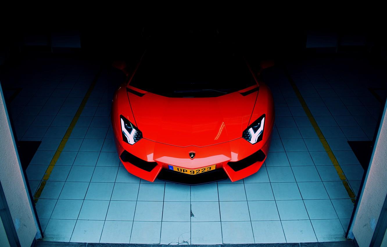 Photo wallpaper Lamborghini, front, orange, garage, LP700-4, aventador