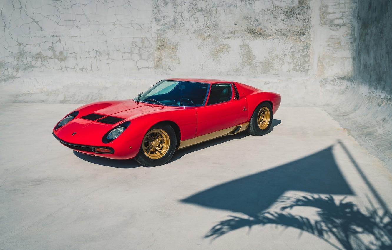 Photo wallpaper red, supercar, classic, legend, LAMBORGHINI, 1972, MIURA
