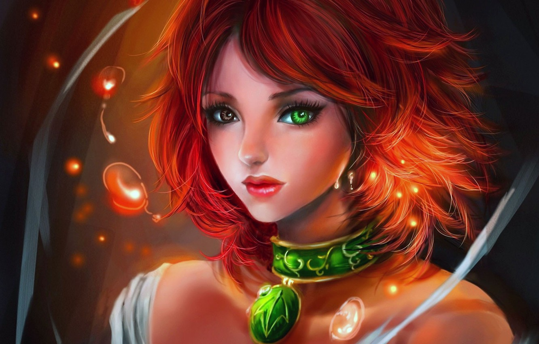 Photo wallpaper girl, bubbles, art, pendant, red, sparks, different eyes, rikamello