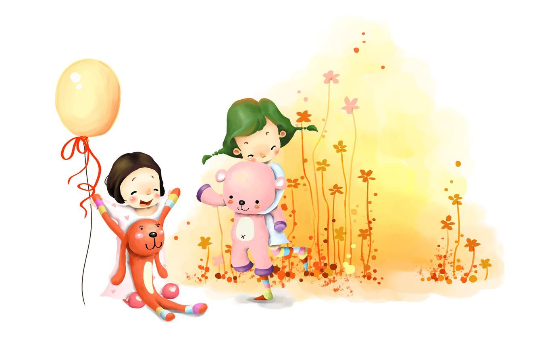 Photo wallpaper flowers, children, girls, toys, figure, laughter, fun, a balloon