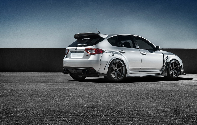 Photo wallpaper Subaru, Impreza, WRX, Car, STI, Sport, Silver, Wheels, Rear