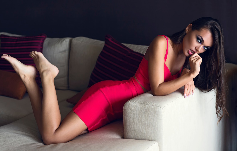 Photo wallpaper makeup, legs, in red, Chromatropic