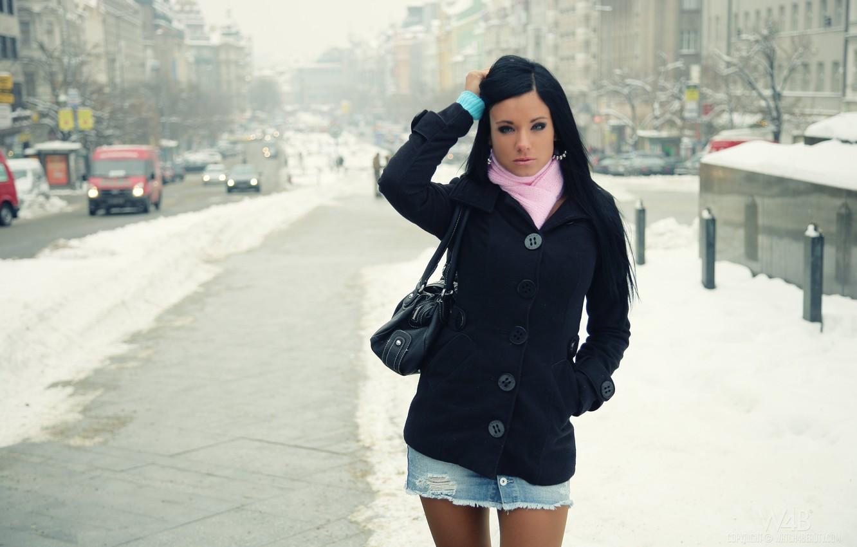 Photo wallpaper winter, machine, model, ashley bulgari