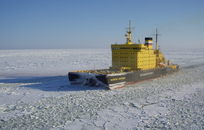 Photo wallpaper ice, sea, ship, ice-breaker, rosmorport, baltic, kapitan sorokin