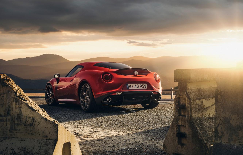 Photo wallpaper Red, Car, Sunset, Sport, Launch Edition, Rear, 2015, Alfa-Romeo