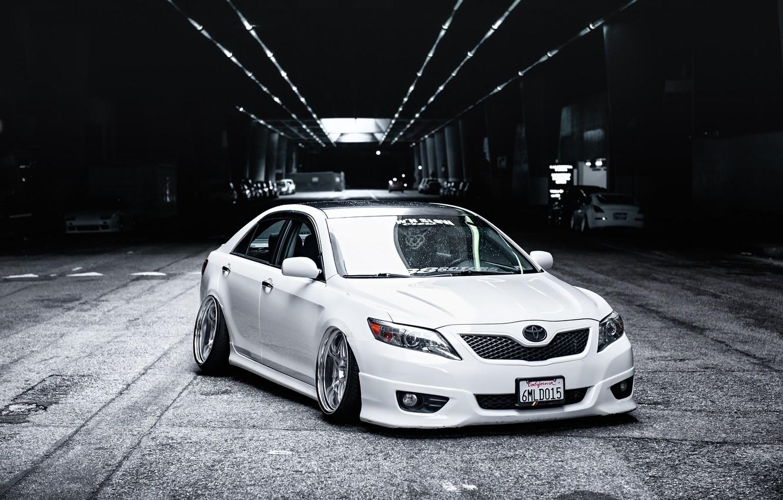 Photo wallpaper tuning, white, white, toyota, Toyota, camry, Camry, stance